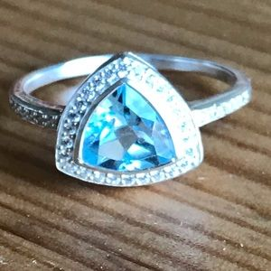 Jewelry - Beautiful Blue&White Topaz Trillion Sterling Ring